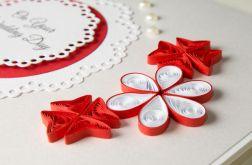 Kartka ślubna, czerwona, quilling