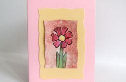 Kartka uniwersalna różowa z kwiatkiem 7