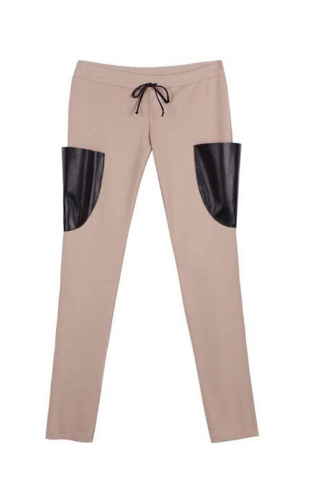 Spodnie rurki z kieszeniami z ekoskóry