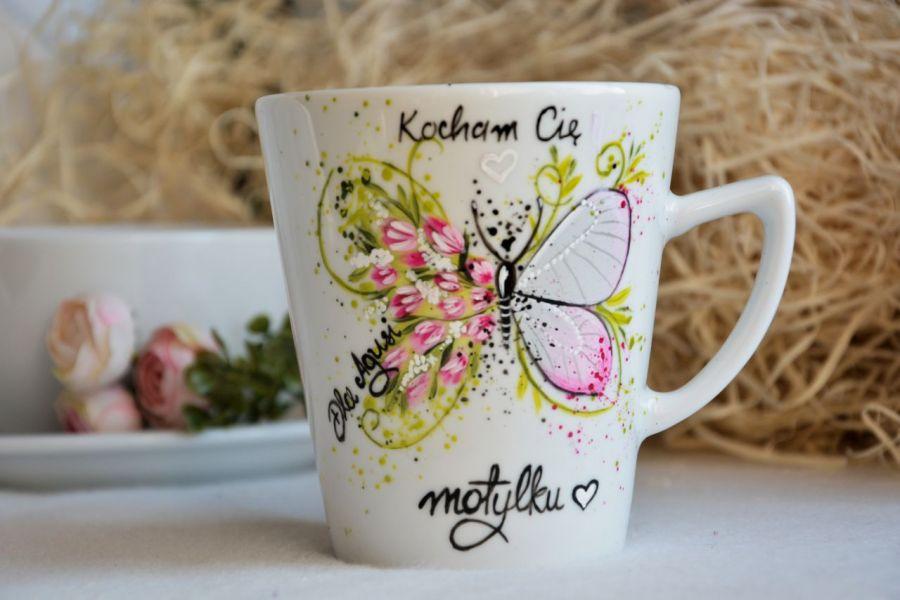 Kubek ręcznie malowany-kocham Cię motylku