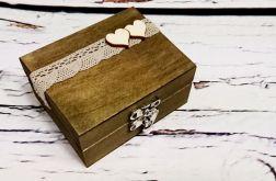 Rustykalne pudełko na obrączki serduszka