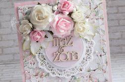 Ślubna kartka biel i róż w różach