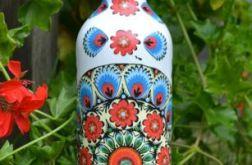 Butelka w łowickie wzory