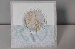 Kartka na chrzest gołąb miętowa