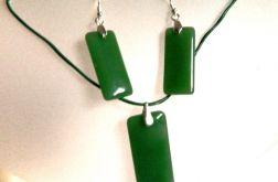 Awenturyn zielony w srebrze, komplet