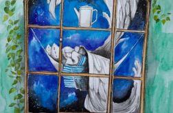 """""""W starych kredensach anioły śpią"""" akwarela"""