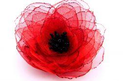 Broszka kwiat - czerwień 8 cm