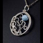 Akwamaryn, srebrny wisior z akwamarynem owal