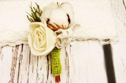 Butonierka ślubna bawełna w zieleni