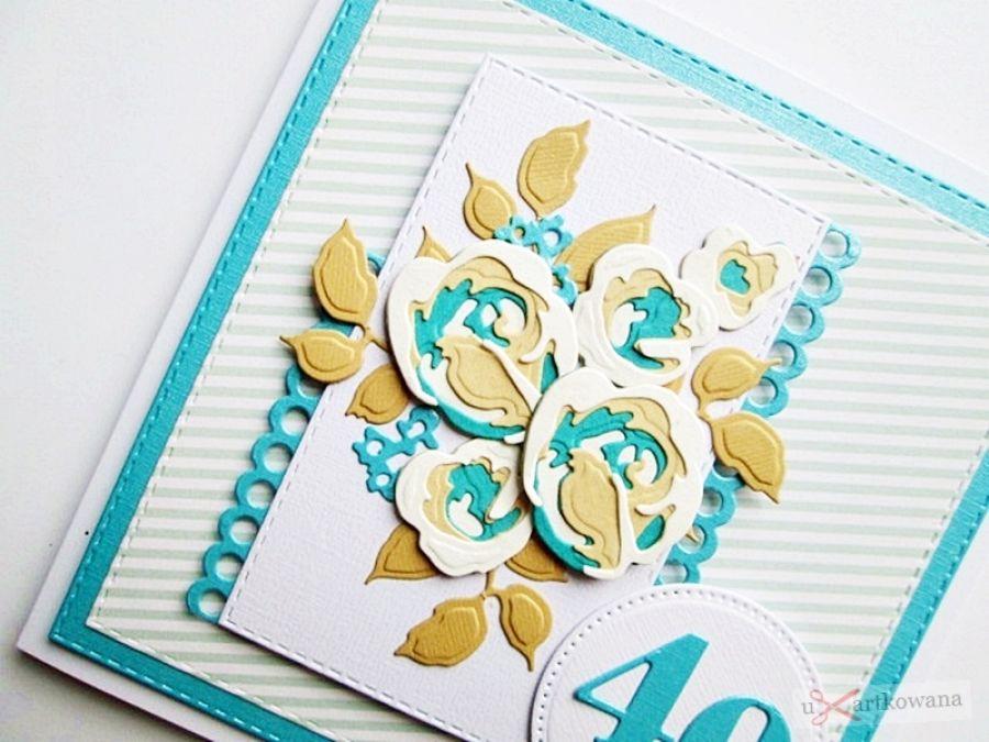 Kartka NA URODZINY beżowo-turkusowe róże - Kartka urodzinowa z różami