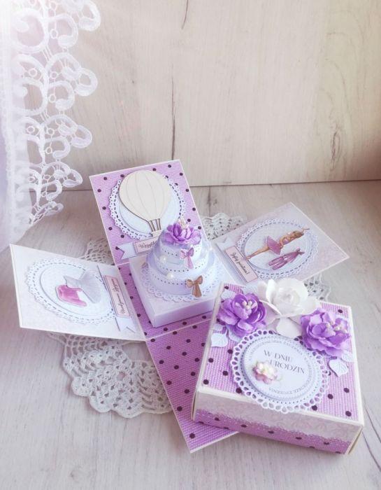 Exploding box urodzinowy z baletnicą GOTOWY -