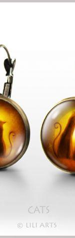 Kolczyki - Kotki - bigle angielskie - antyczny brąz