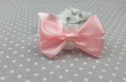 Opaska na gumce z kokardą różowa