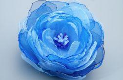 Broszka kwiat - niebieska 8 cm