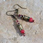 Kaliber 5,6 - w czerwieni i różu - kolczyki z marmurową kulką
