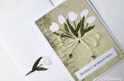 Kartka Z ŻYCZENIEM - białe tulipany
