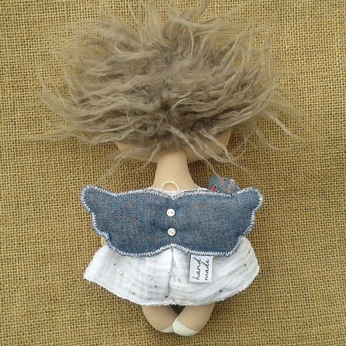 ANIOŁEK lalka - dekoracja tekstylna, OOAK /03 - tak wyglądam z tyłu