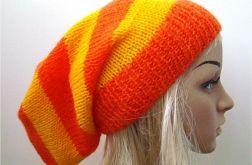 czapka w pasy żółto-pomarańczowe