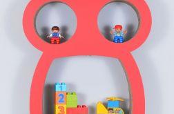 Półka na książki zabawki SOWA | czerwony