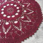 Szydełkowa bordowa serweta 41 cm boho - Serweta na szydełku