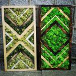 Drewniany obraz z mchem