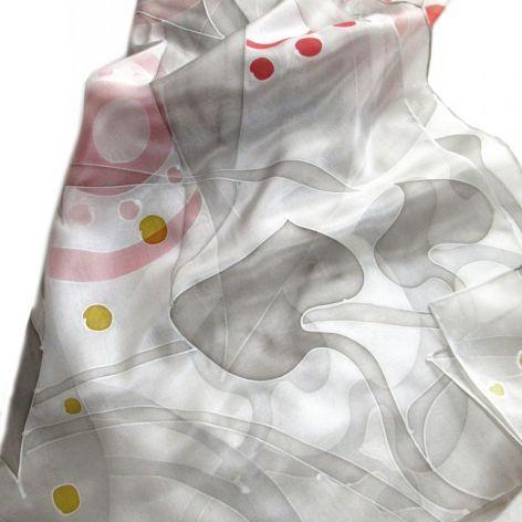 Szara ze srebrem i czerwienią jedwabna chusta