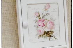 Biała szafka na klucze Róże