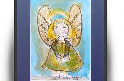 Szczęśliwy aniołek - 2, akwarela, obrazek