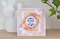 Kartka ślubna brzoskwiniowa młodej parze