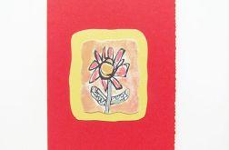 Kartka czerwona z kwiatkiem  9