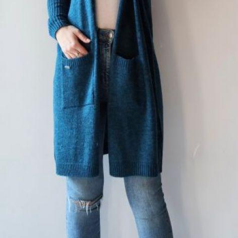 Sweter oversize z kieszeniami szmaragd