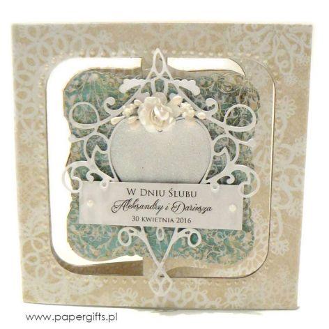 Kartka ślubna beżowo-zielona ręcznie robiona