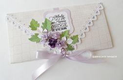 Kopertówka, kartka na ślub beżowo - fioletowa