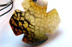 Miodowo-szary agat pajęczy, koniczyna, wisior