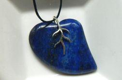 Lapis lazuli, srebro, asymetryczne serce, wis