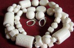 Koral biały, zestaw biżuterii w srebrze