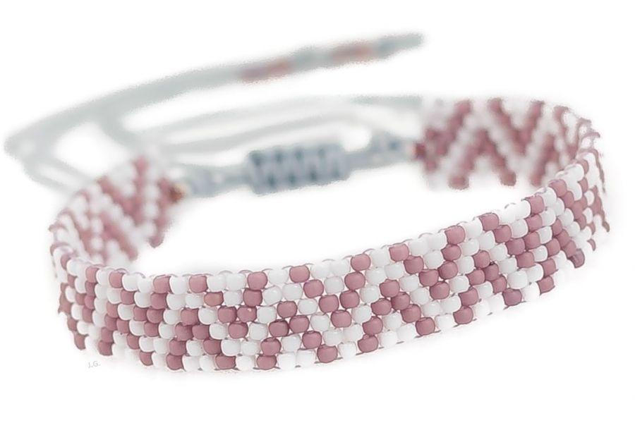Bransoletka koralikowa wzorek beading pastel