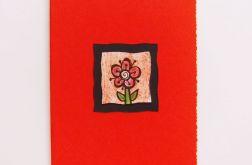 Kartka czerwona z kwiatkiem  12