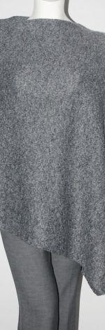 Klasyczne gładkie ponczo ciemny szary