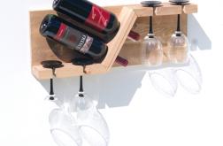 Półka stojak na wino i kieliszki z drewna