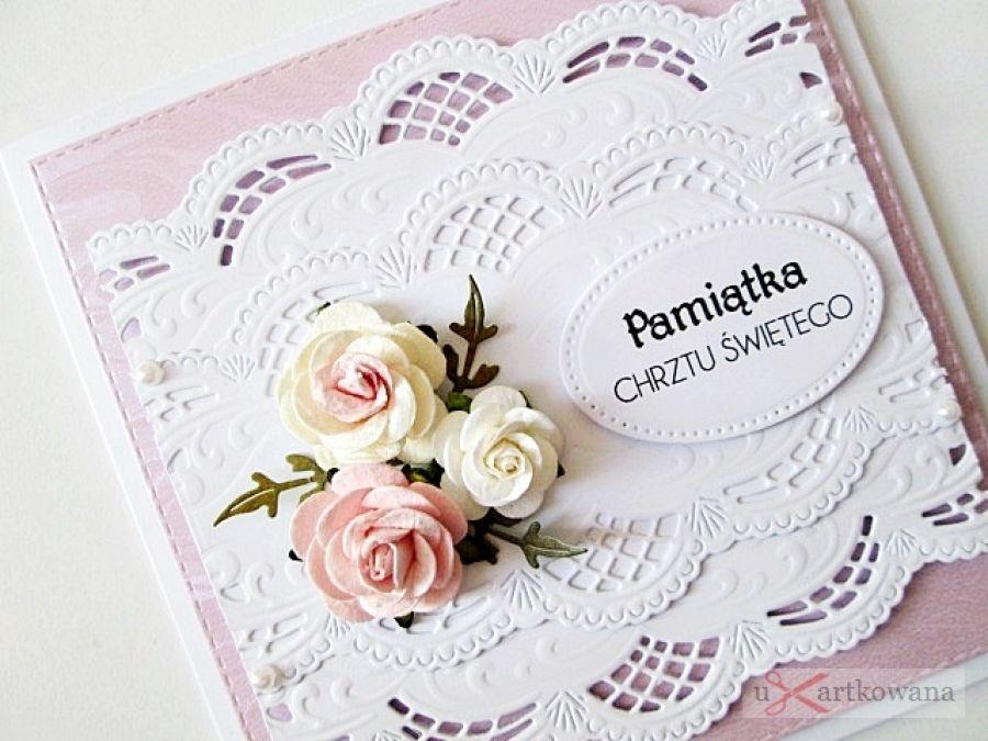 Kartka PAMIĄTKA CHRZTU z różyczkami /Z