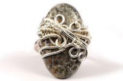 Skamielina, srebny pierścionek ze skamieliną
