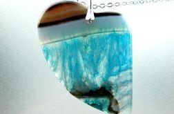 Agat i kryształ, wisiorek- serce na łańcuszku