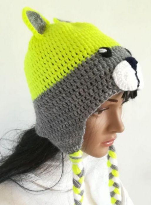 czapka neonowy miś - czapka zółty miś