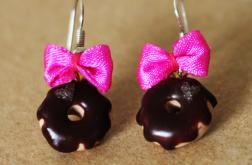 Kolczyki - donuty w czekoladowej polewie