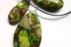 Zielone jaspisy i srebro,oryginalna biżuteria