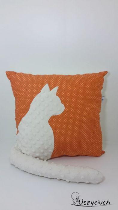 Poduszka z kotem i ogonem 3D kremowy kot