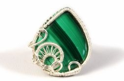 Srebrny pierścionek z malachitem regulowany