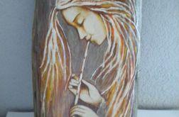 Anioł z flecikiem - na desce