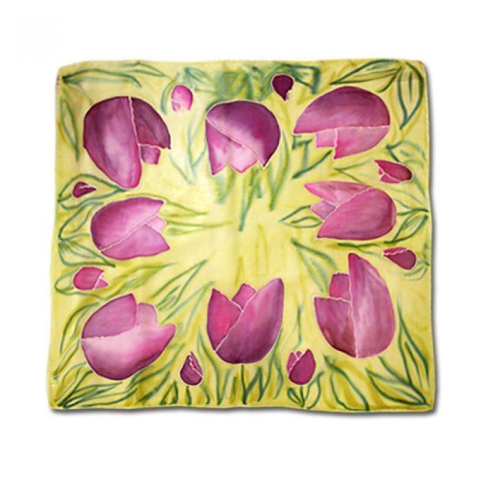 Chusta jedwabna ręcznie malowana -Tulipany
